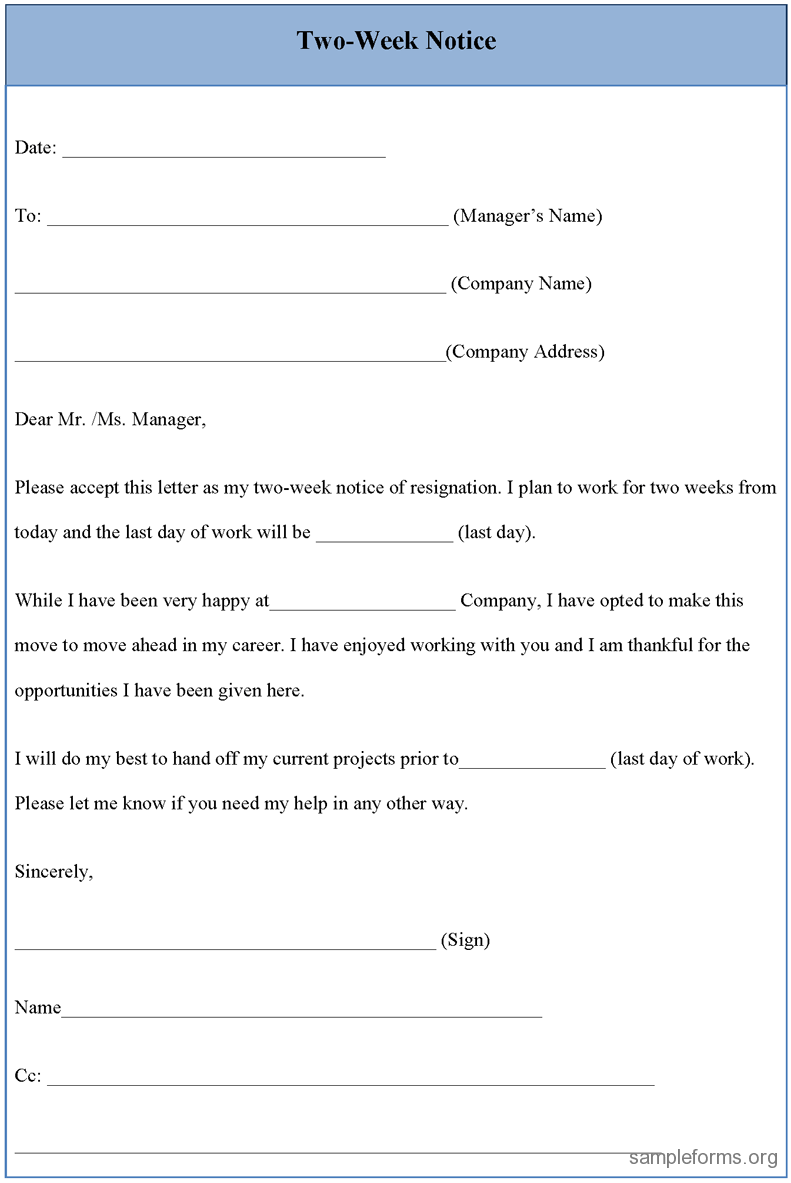 Resignation Letter Sample 2 Weeks Notice | Two week Notice Form