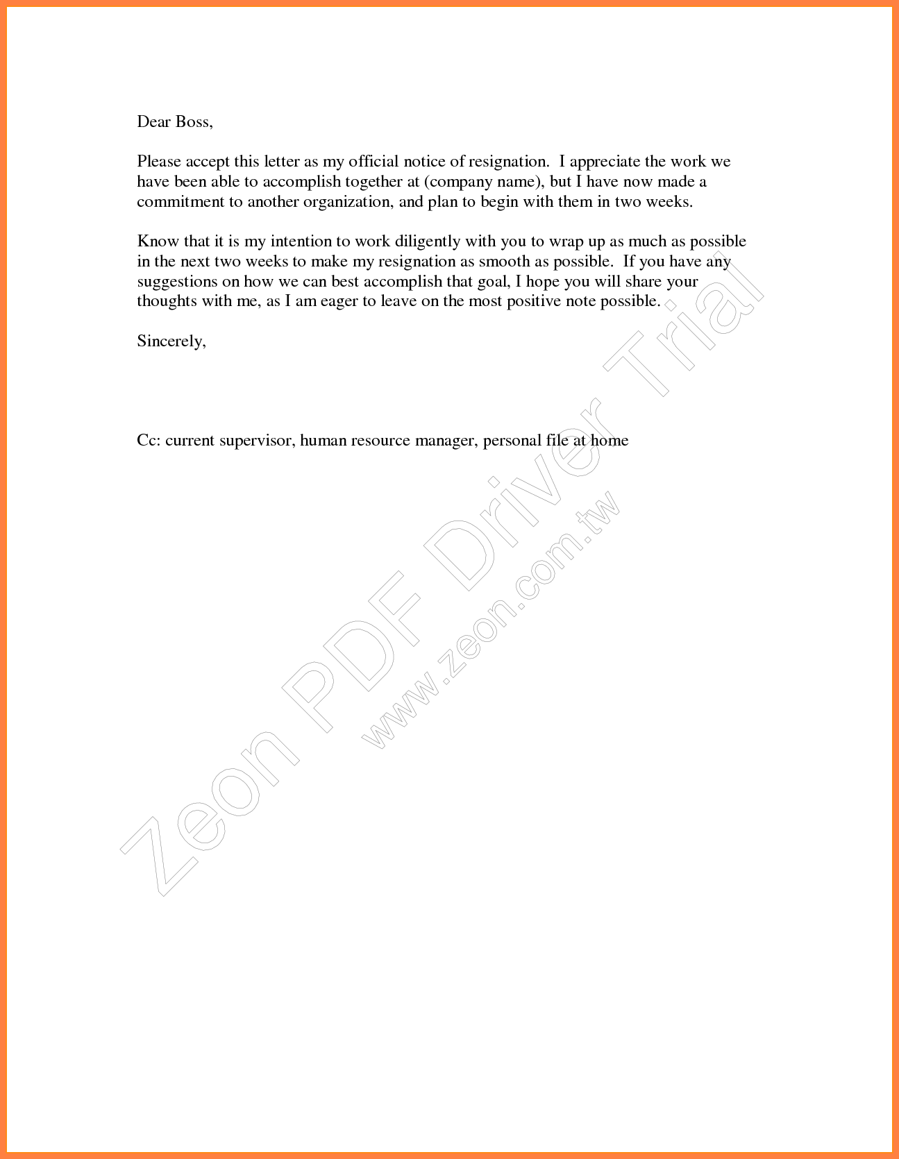 12+ 2 weeks notice letter for retail | Notice Letter