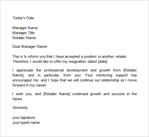 2 weeks notice letter retail two weeks notice letter retail