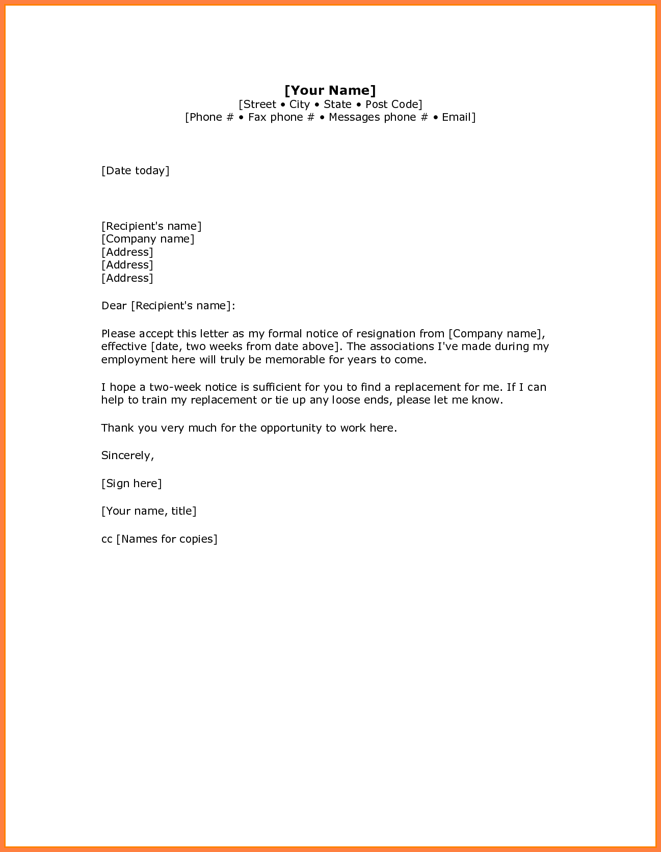 6+ 2 weeks notice sample retail | Notice Letter