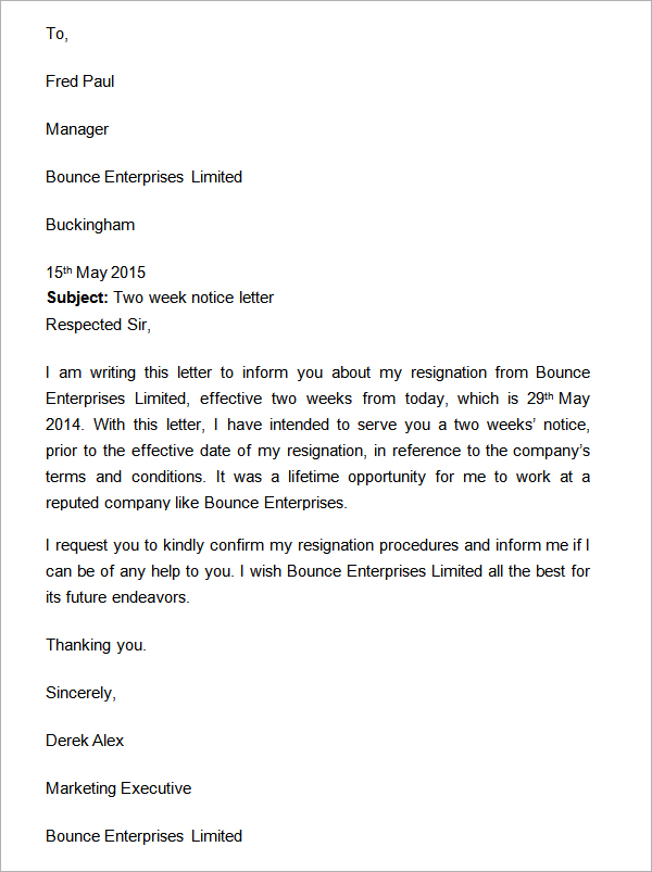 Two Weeks Notice Letter Resignation SampleBusinessResume.