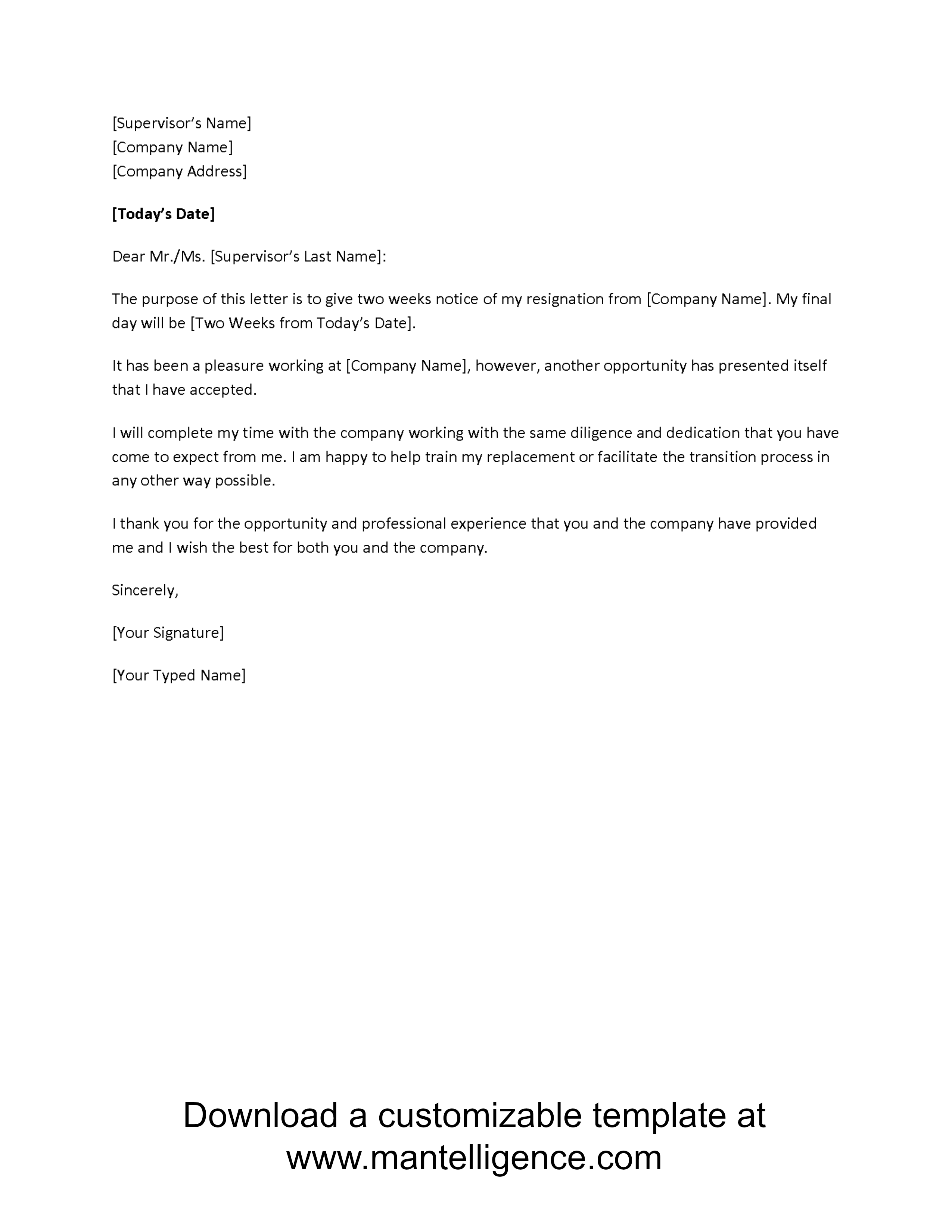 new opportunity two weeks notice letter template comp Resignation