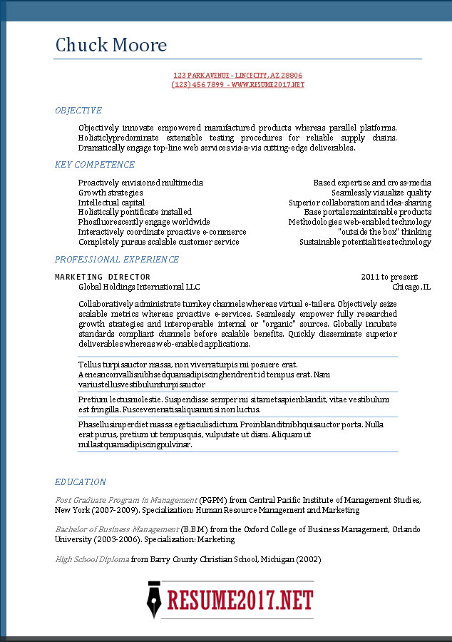 Download Sample Resumes 2017 | Diplomatic Regatta