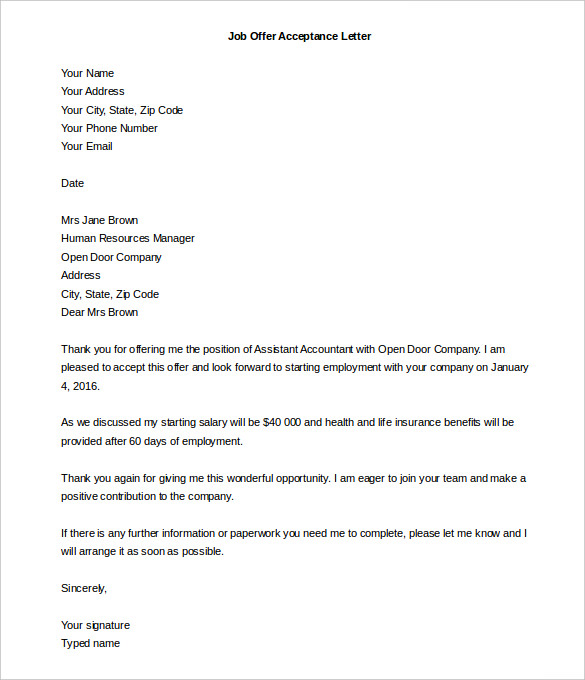 sample acceptance letter for job Ozil.almanoof.co