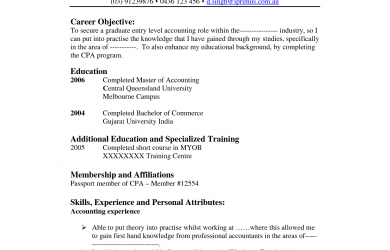 Accounting Resume Objective Entry Level