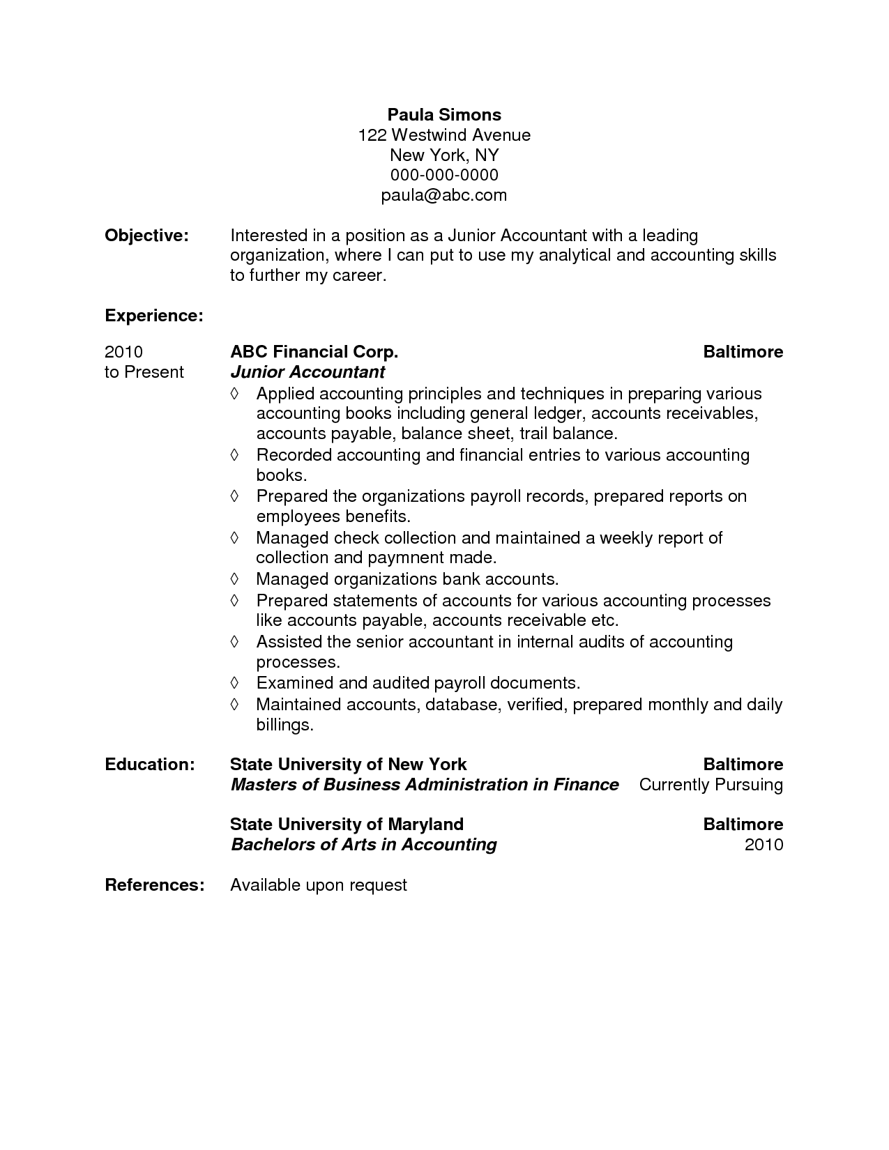 Sample Accounting Resume Objective Create Resume Objective
