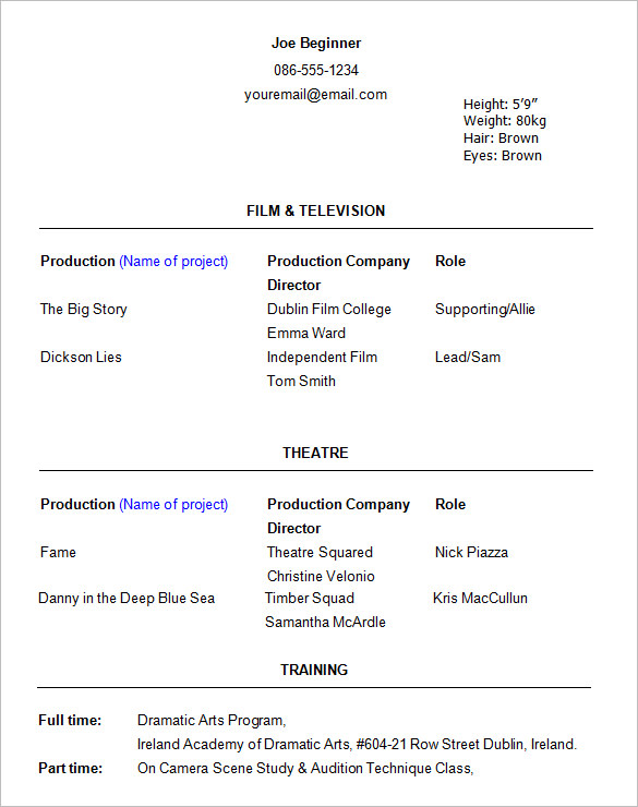 11+ Acting Resume Templates Free Samples, Examples, & Formats