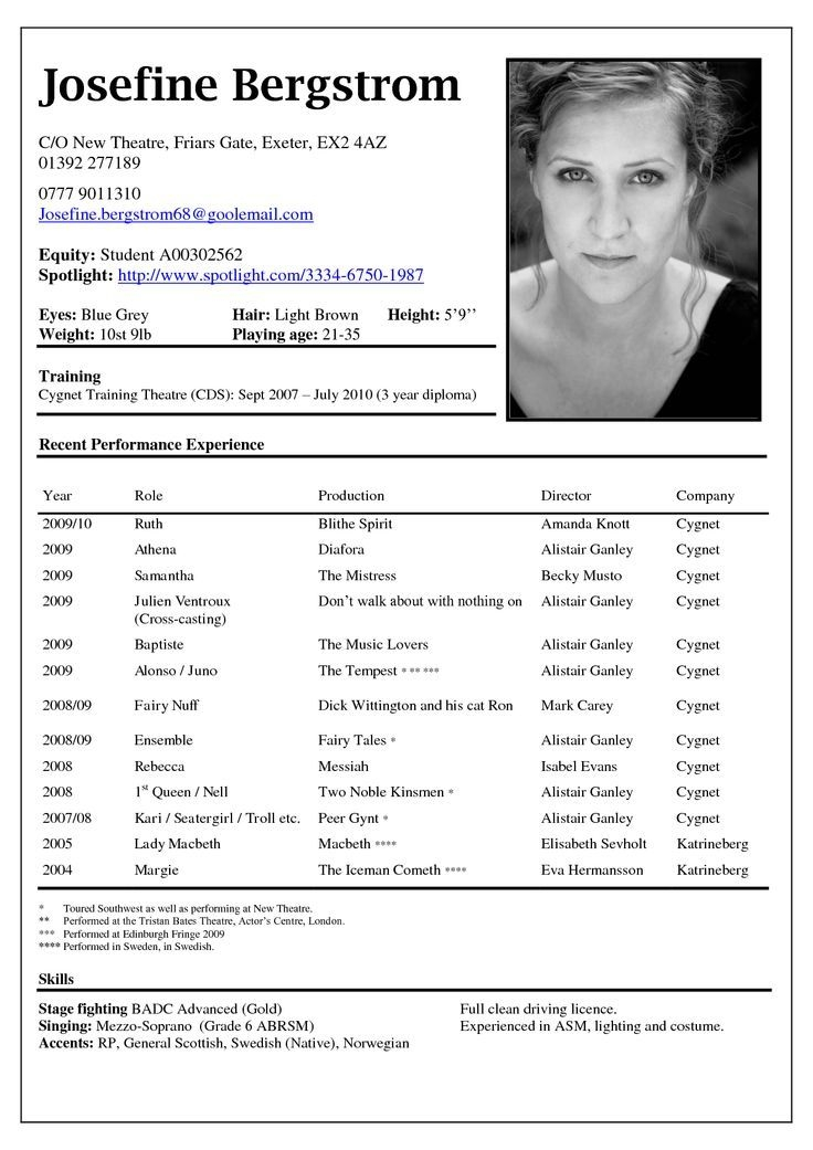Actors Resume | mobile discoveries