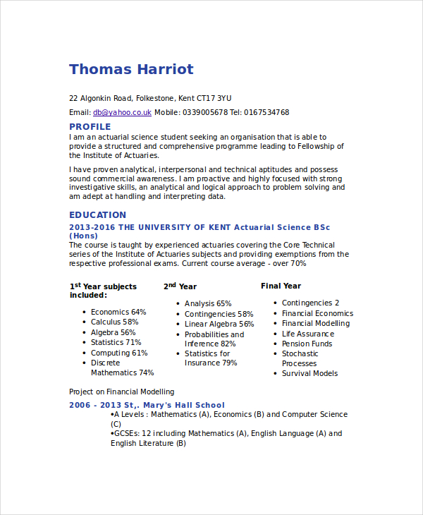Actuarial Resume Template 5+ Free Word, PDF Documents Download