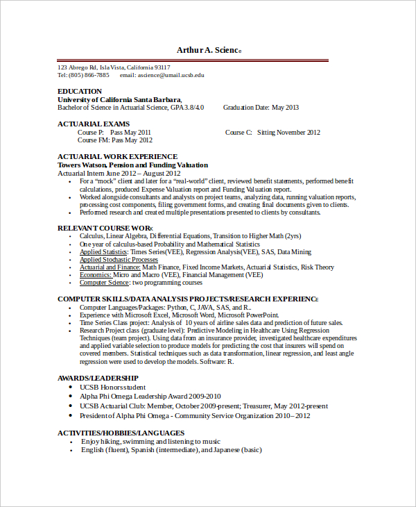 Actuary Resume | mobile discoveries