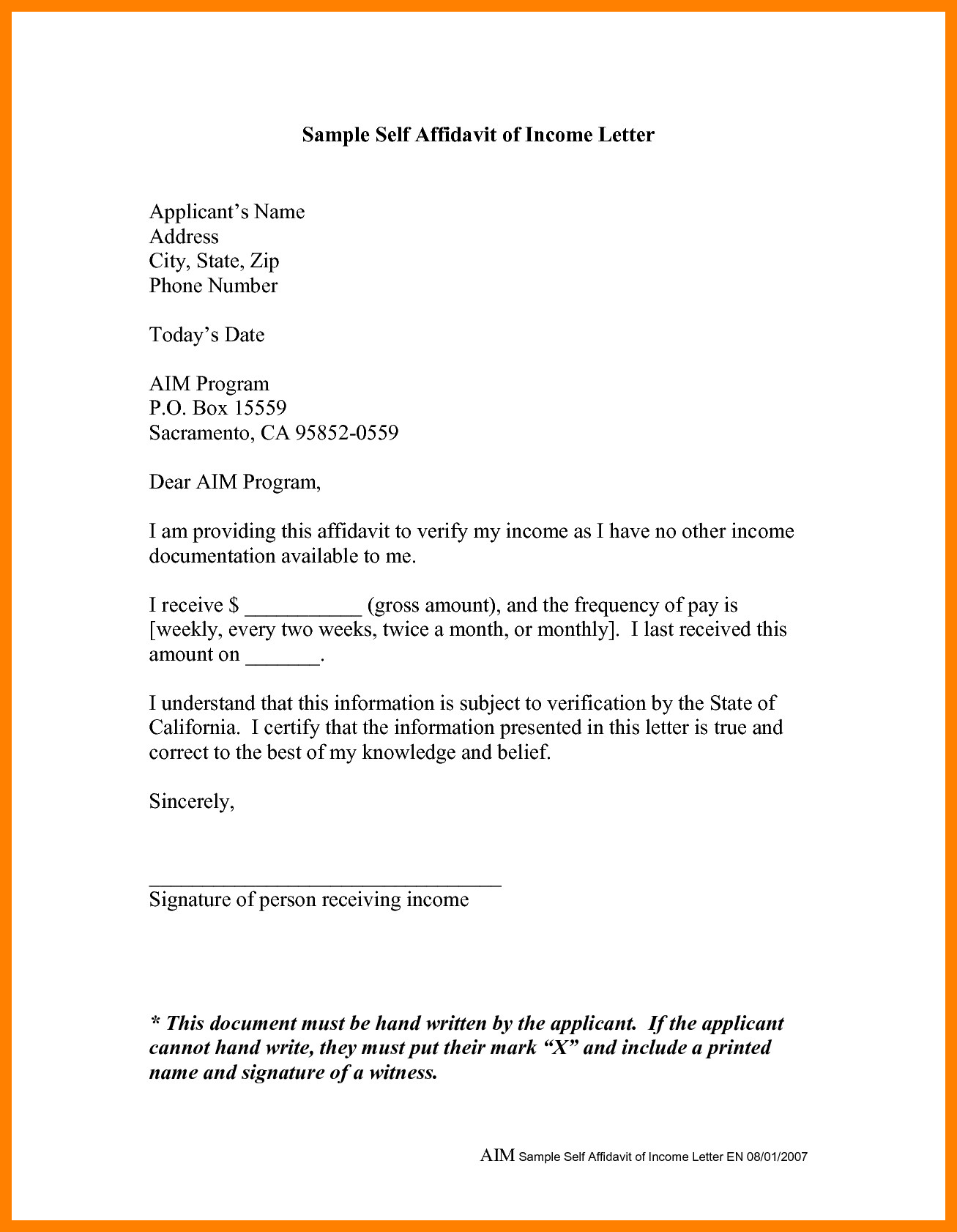 Sample Affidavit Free Sworn Affidavit Letter, Template, Format