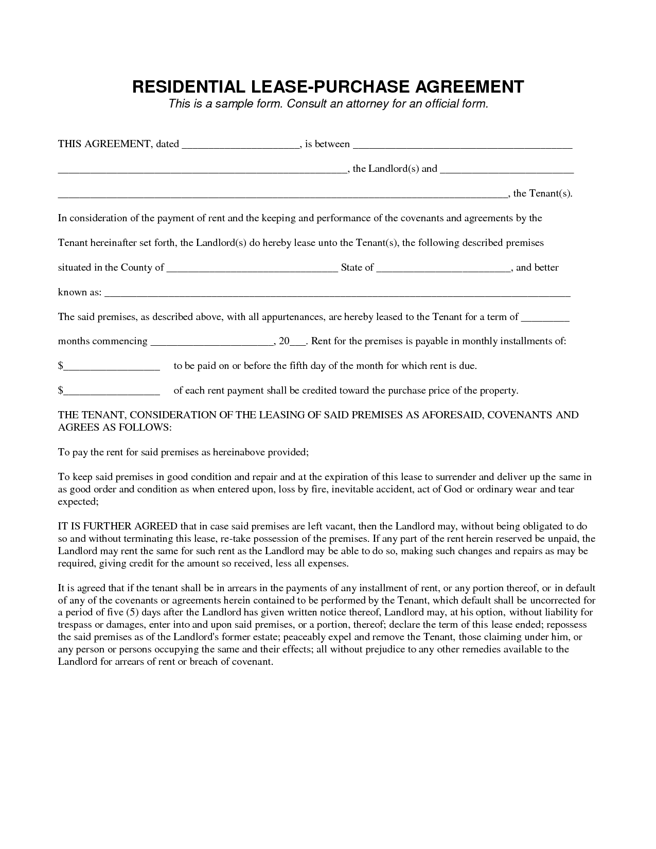 Lease To Own Contract Template legal agreement contract | Legal