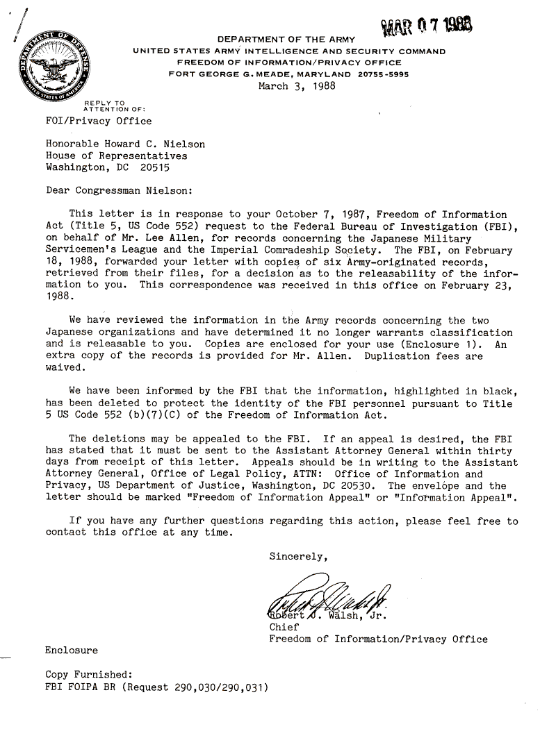 Internment Archives: Army Letter to Rep. Nielson on Release of