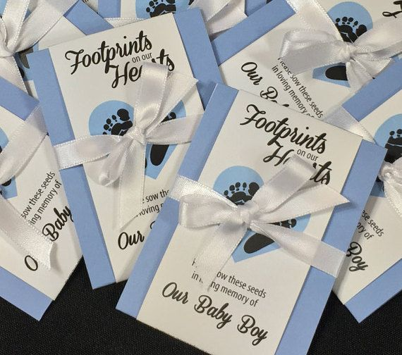 Baby Boy Infant Child Memorial Seed Packets Tiny Footprints