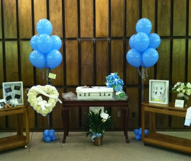 Funeral Balloon Release ~ Balloon Wreath ~ Basket of Flowers