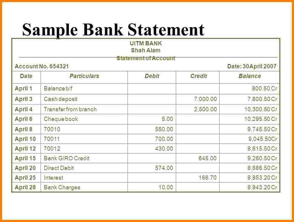 6+ a sample bank statement | Pay Statements