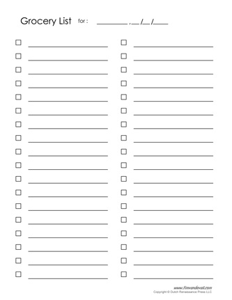 blank printable grocery list template Leon.escapers.co