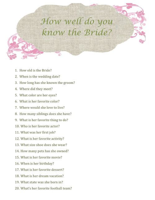 The Sparkled Life ~ Bridal shower game printable how well do you