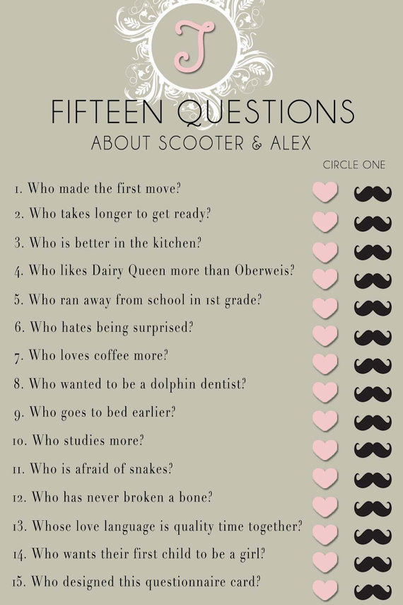 Wedding Dress Questionnaire bridal shower questionnaire template