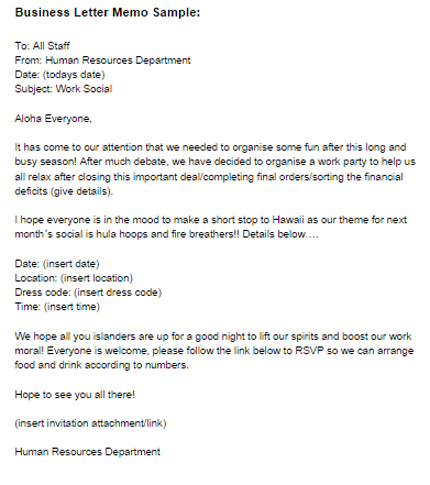 Business Letter Memo Sample | Business Memo Example
