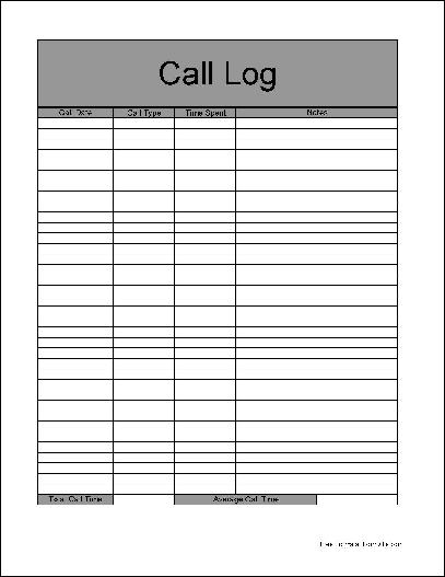 office call log template Ozil.almanoof.co