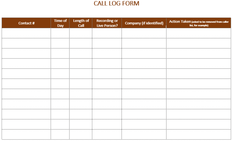 Call log Template|Phone Call Log | All Form Templates