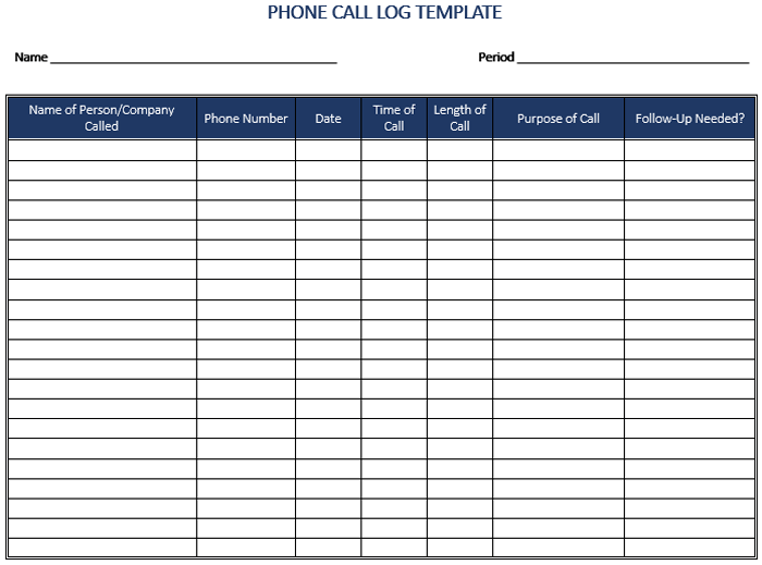 call logs template Ozil.almanoof.co