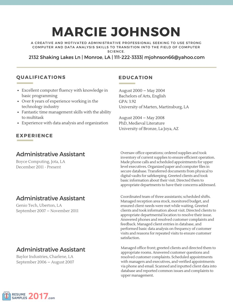Functional Resume Exam Great Career Change Resume Samples Sample