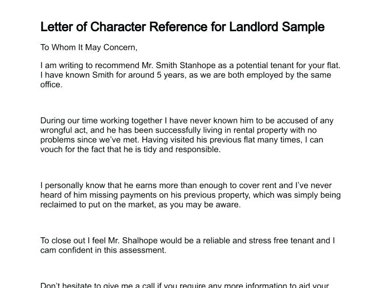 Character reference examples for landlord not renewing lease