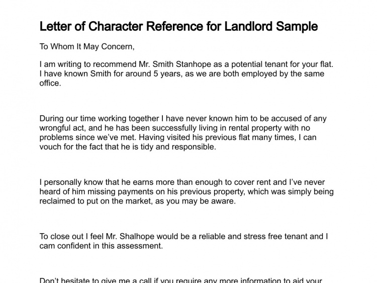 Character reference for flat letter of landlord sample 137 3 ready
