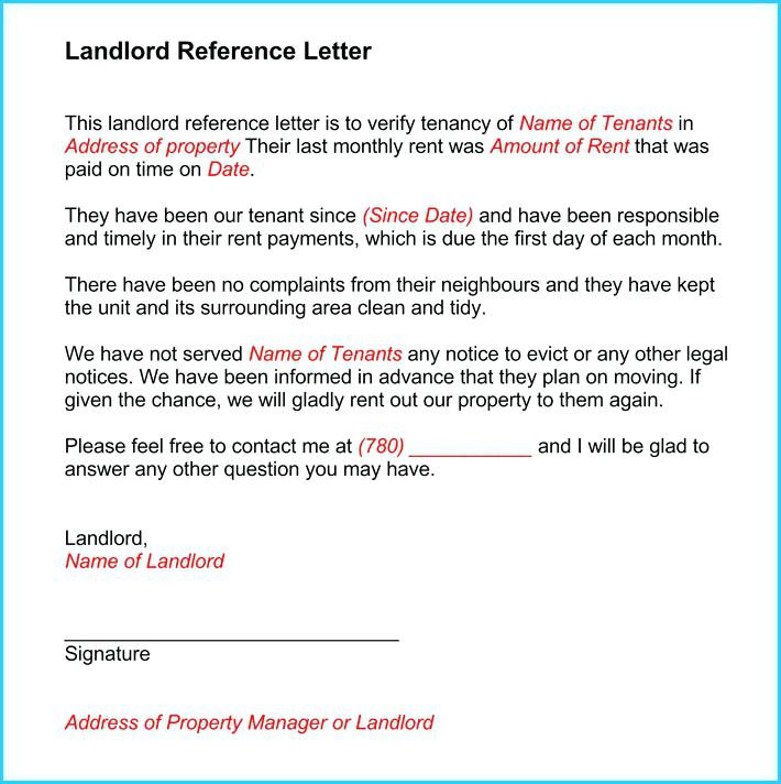 Character reference letter for landlord tenant template example