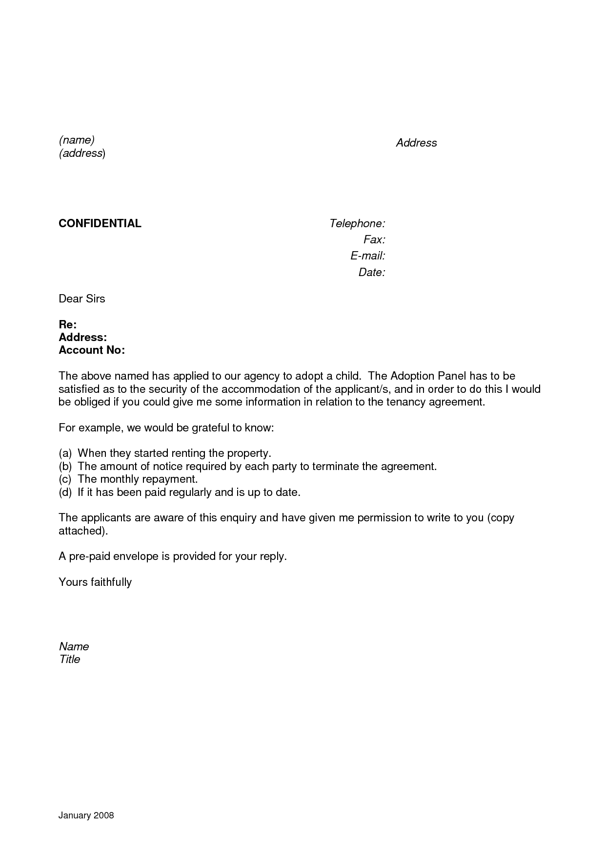 Character Reference Letter for Rental Property Template Business