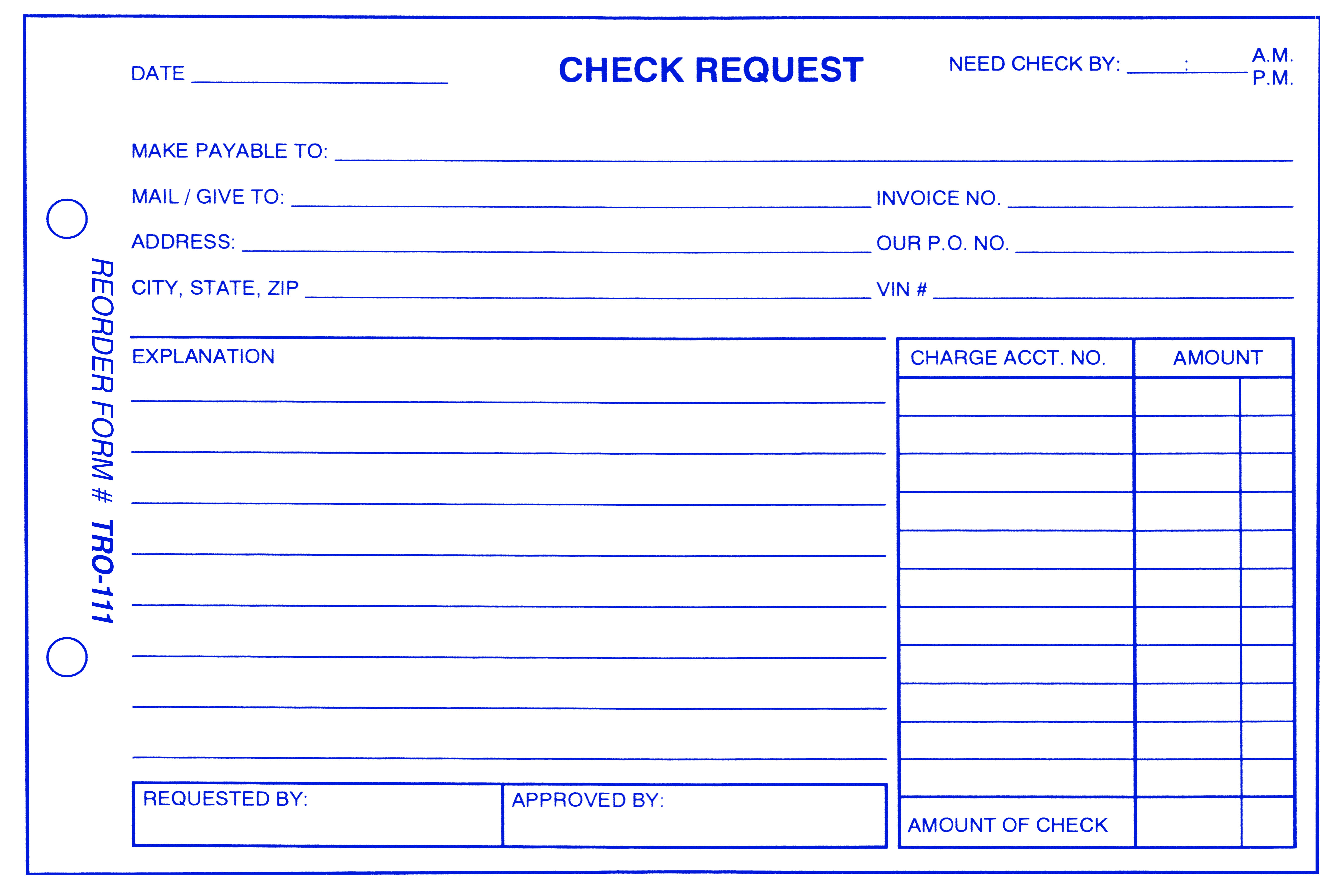 Check Request Form Aftermarket Specialties