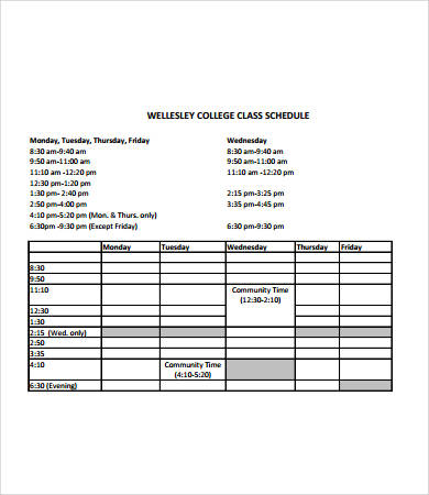 sample college class schedule Ozil.almanoof.co