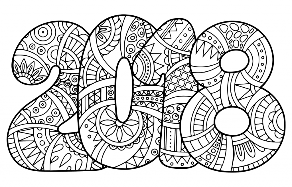 New years coloring page printable new year 2018 coloring pages