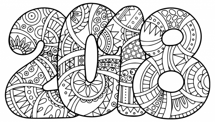 New Years Coloring Page Printable Year 2018 Pages Pictures