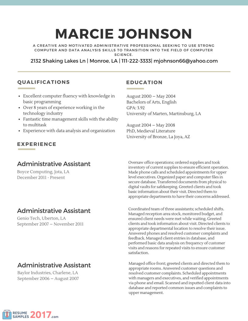 Examples Of Functional Resumes sradd.me