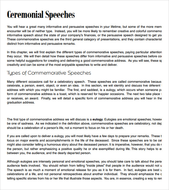 7 Commemorative Speech Examples for Free Download | Sample Templates