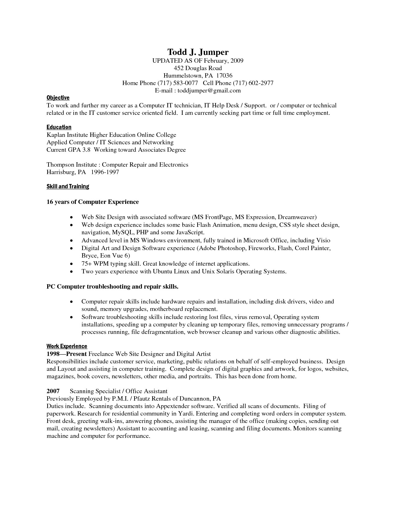 computer skill resume Fieldstation • Aceeducation