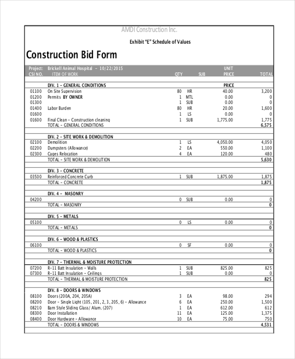 construction bid sheet template mobile discoveries