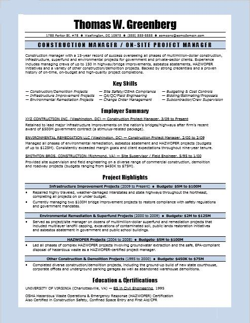 Construction Manager Resume Sample | Monster.com