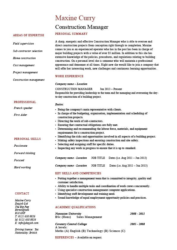construction manager resume template construction manager cv