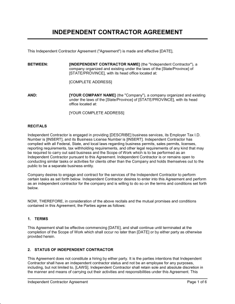 contractor agreement template contractor agreement template