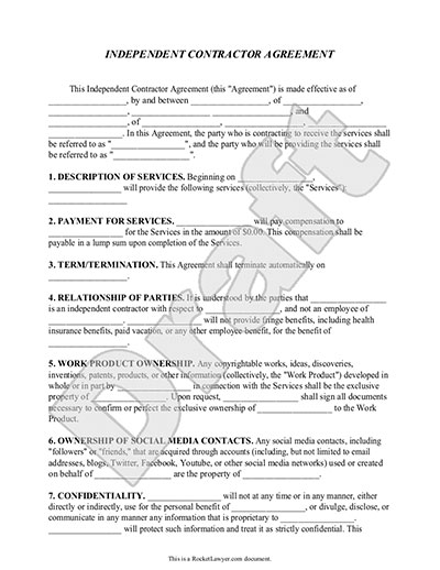 contractor agreement template free independent contractor