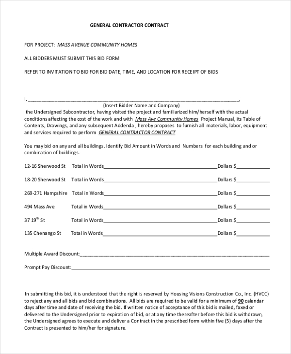 Contractor Contracts Sample Sample Contractor Contract Form 7 Free
