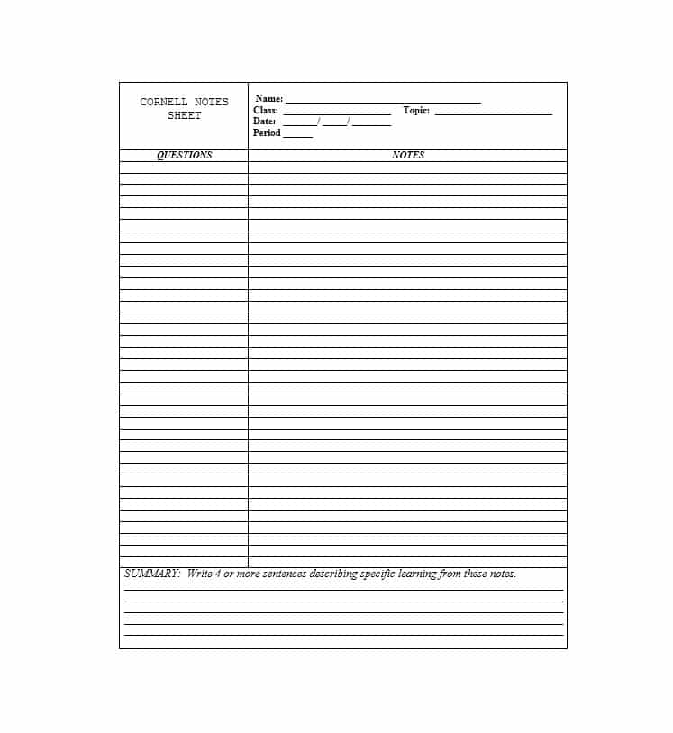 36 Cornell Notes Templates & Examples [Word, PDF] Template Lab