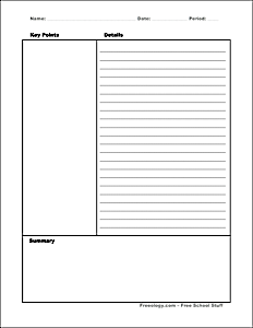 Cornell Notes Template Freeology