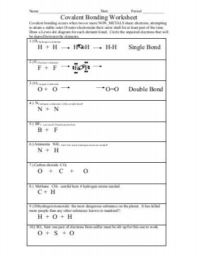 chemical bonding worksheet answers covalent bonding worksheet