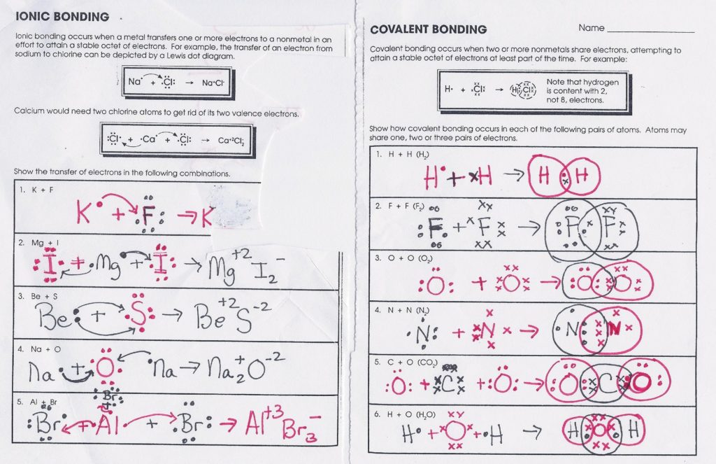 covalent bonding worksheet answers ionic bonding worksheet