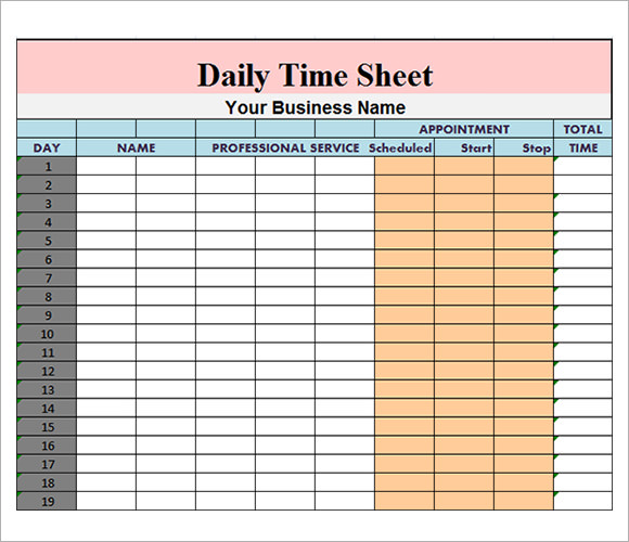Time sheet template for excel timesheet calculator.
